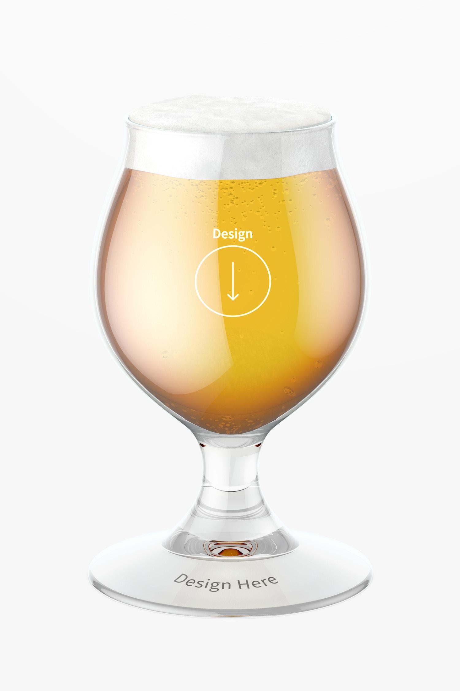13 oz Belgian Beer Glass Mockup, Front View