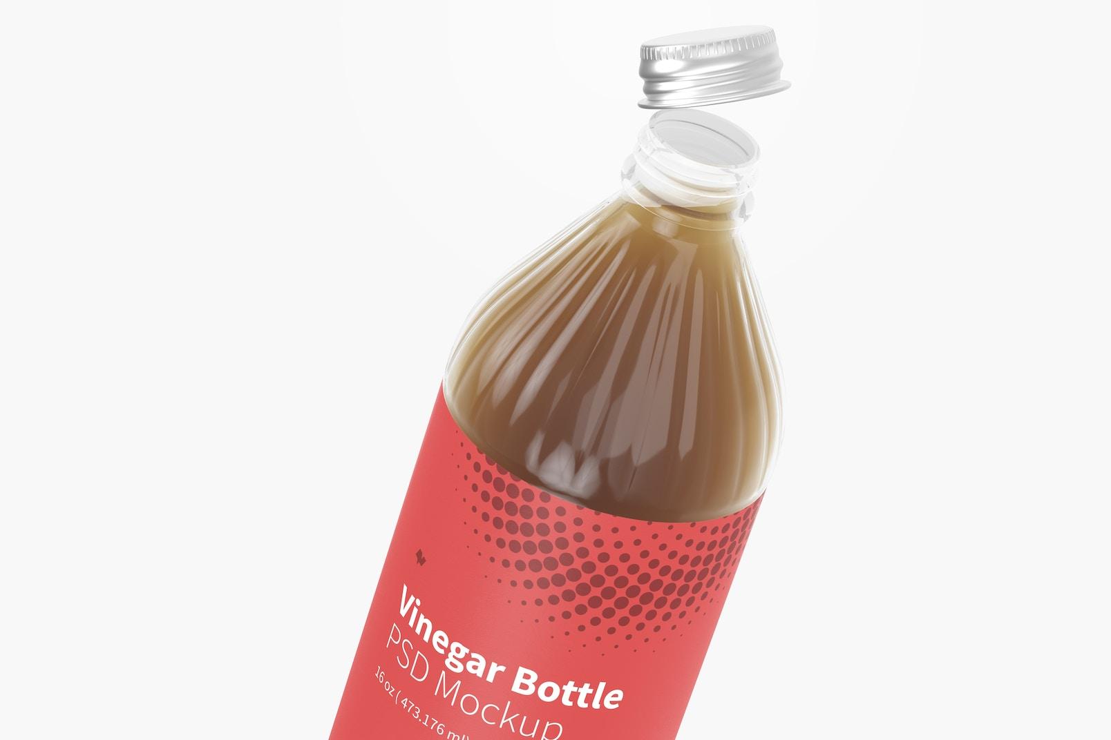16 oz Glass Vinegar Bottle Mockup, Close Up