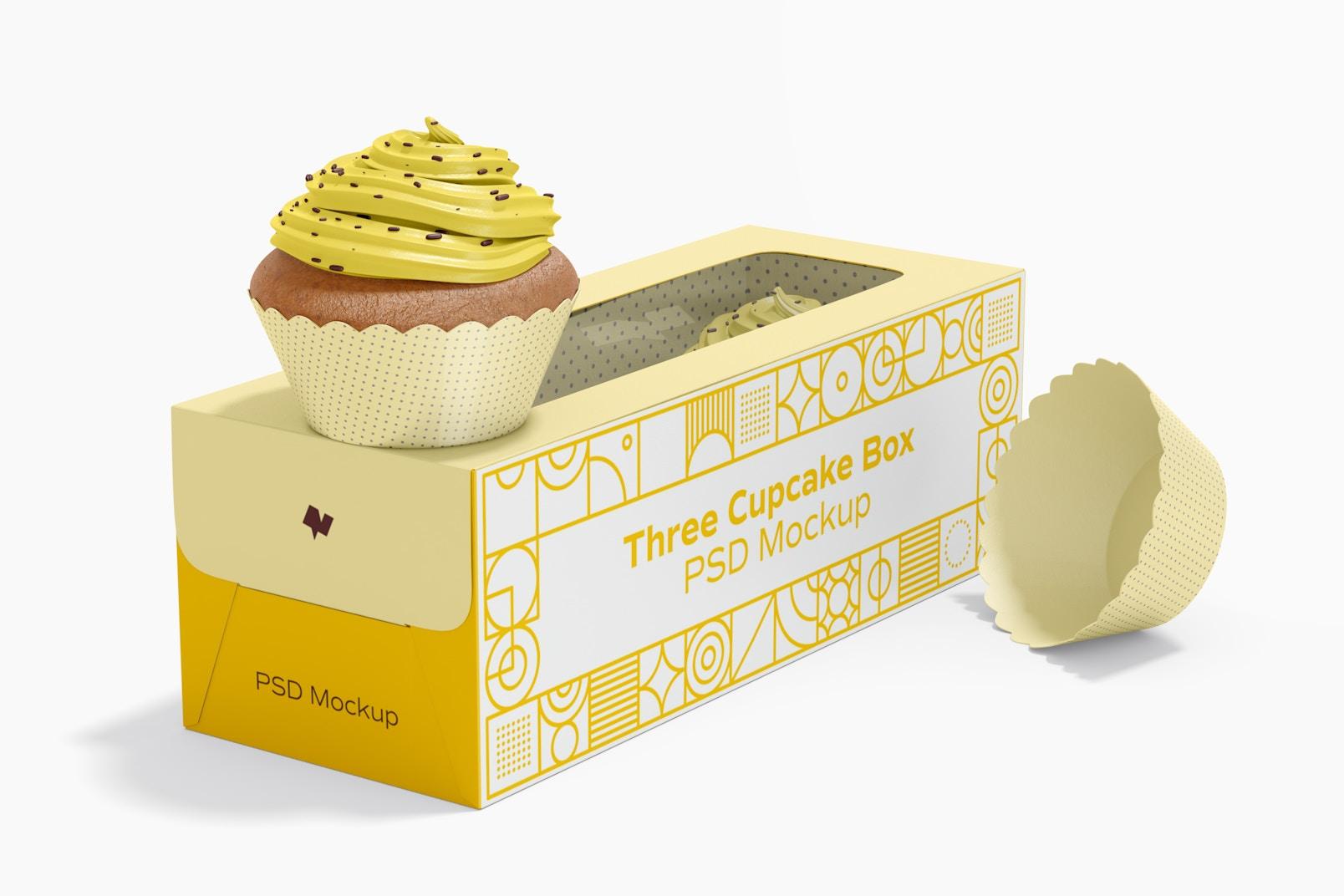 Three Cupcake Box Mockup, Left View