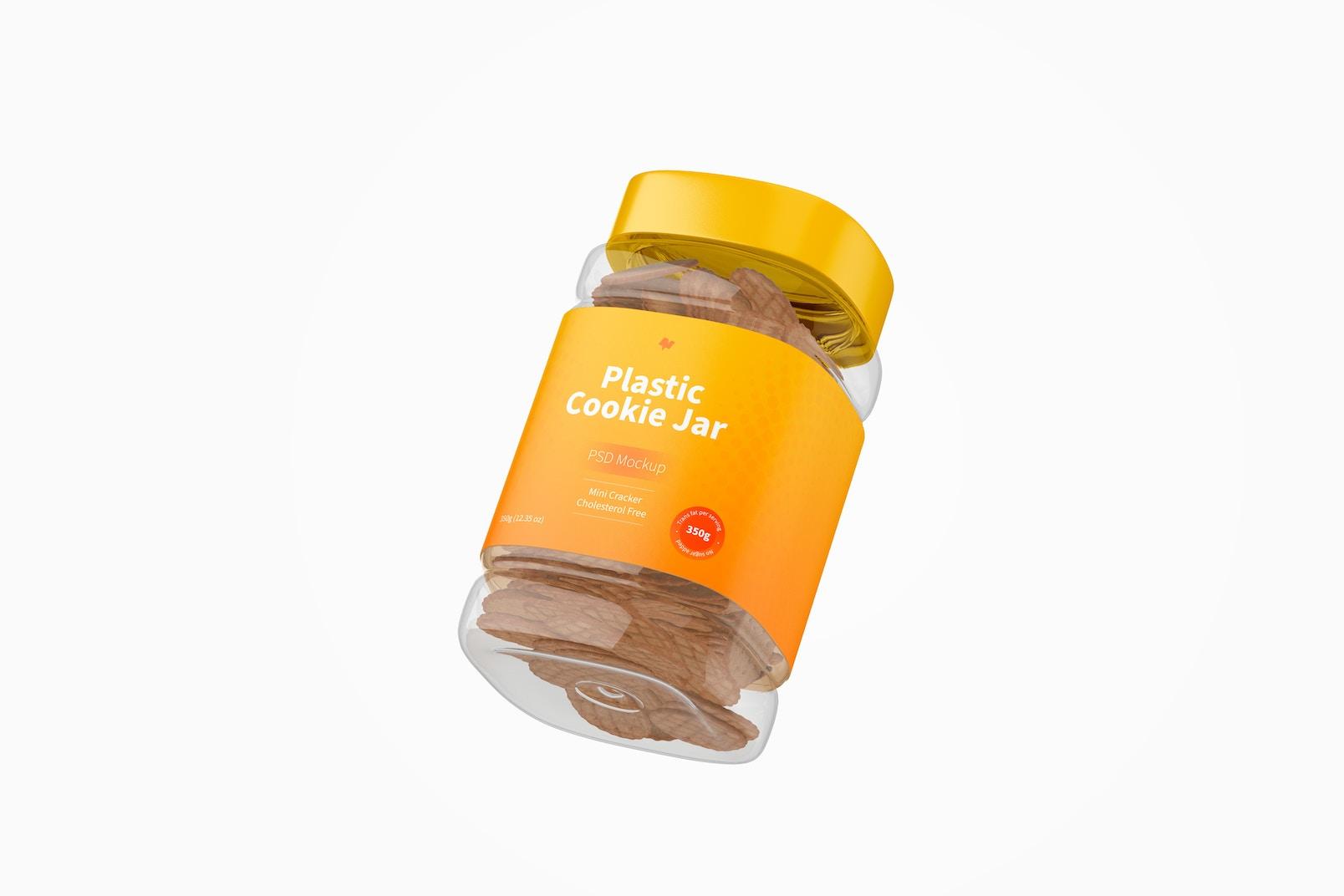 Plastic Cookie Jar Mockup, Floating