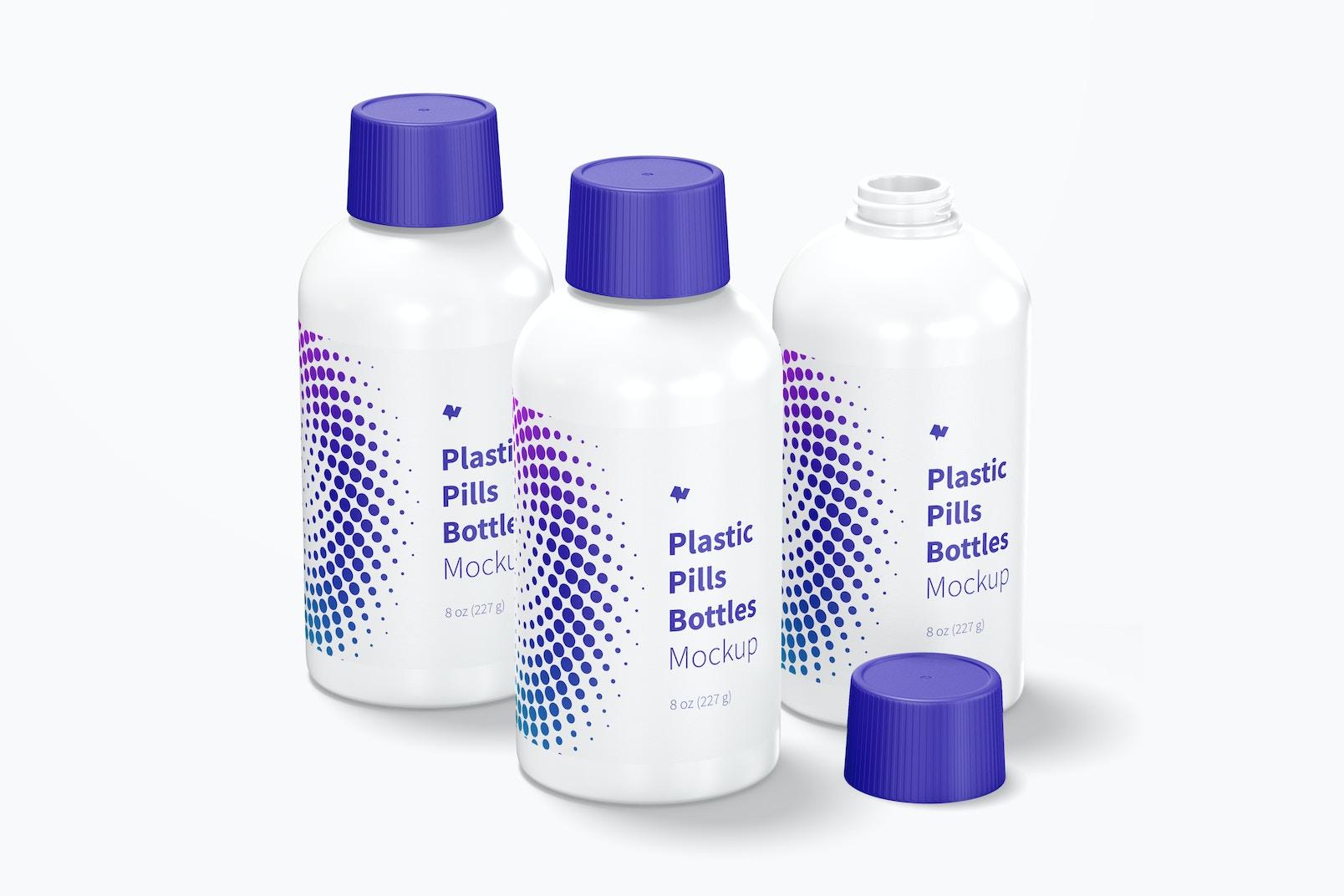 Plastic Pills Bottles Set Mockup