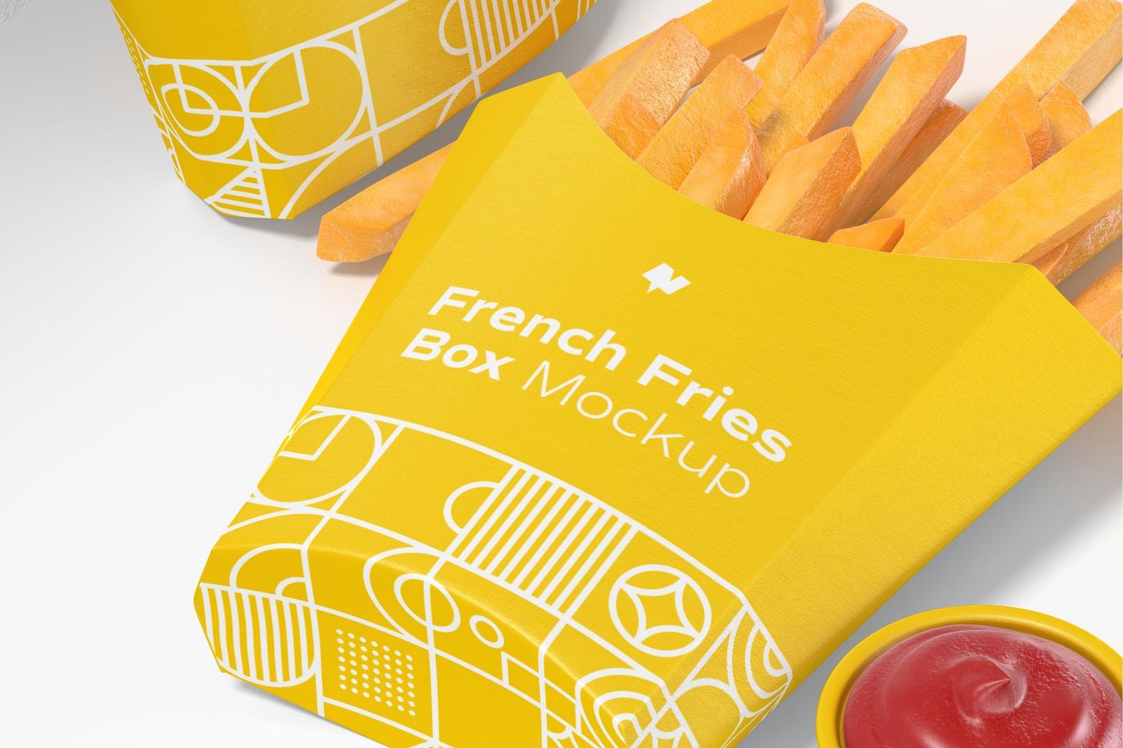 French Fries Box Mockup, Dropped