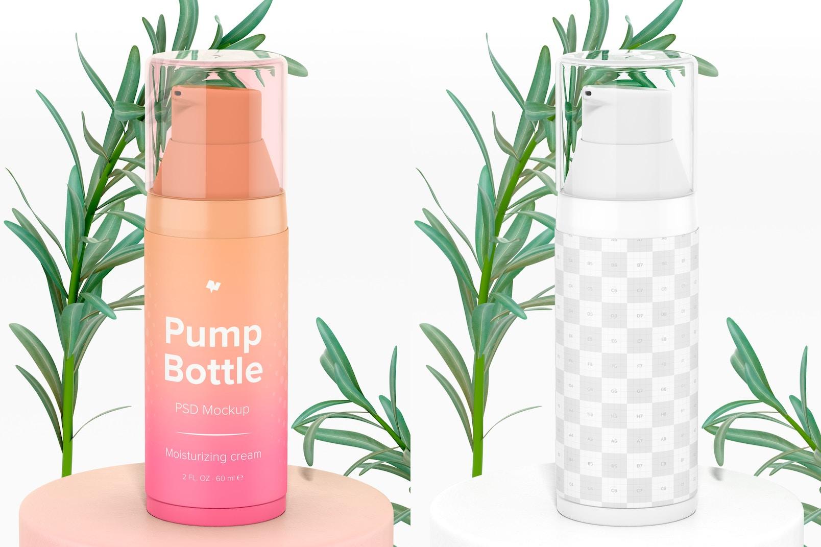 2 oz Pump Bottle Mockup, Front View 02