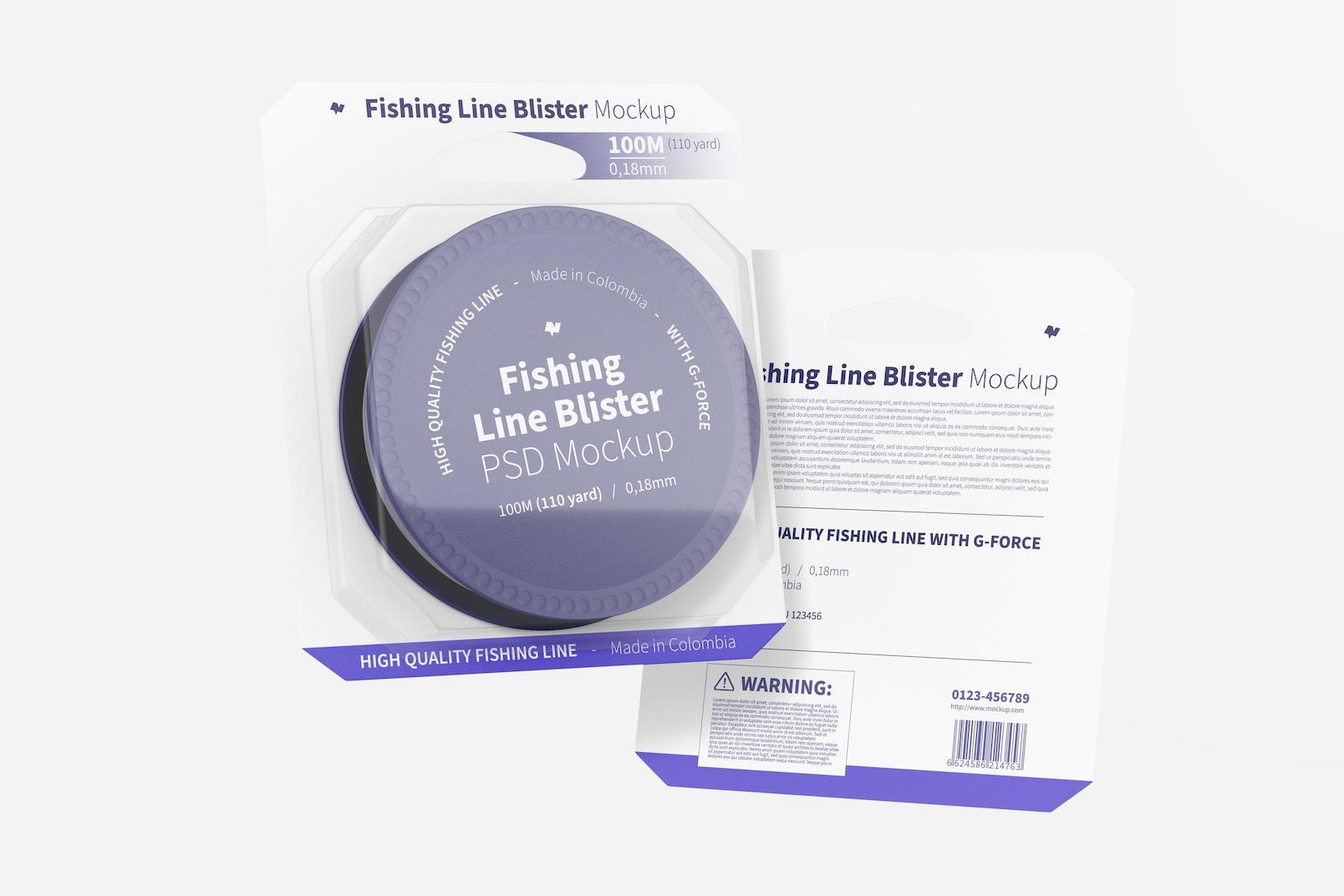 Fishing Line Blisters Mockup, Floating