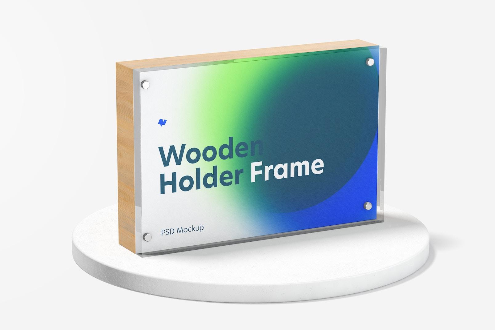 Wooden Label Holder Frame Mockup
