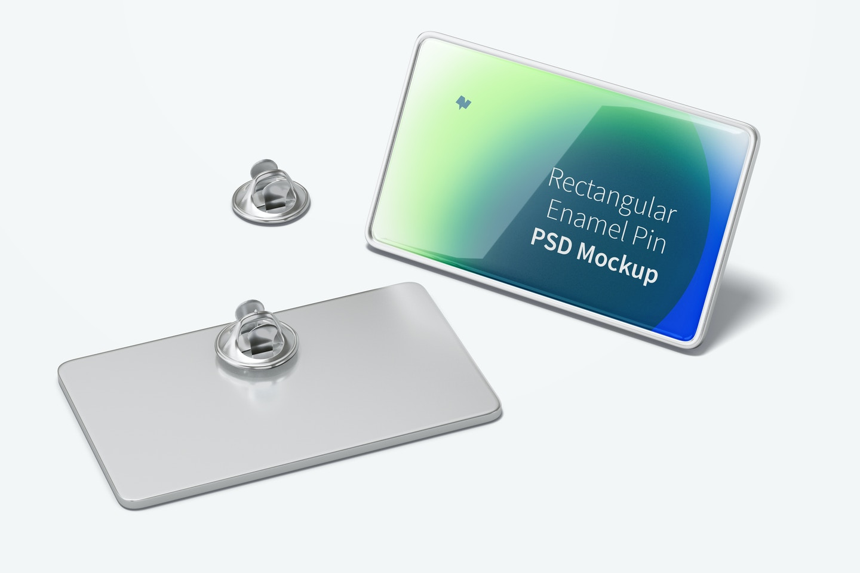 Rectangular Enamel Pin Mockup, Front and Back