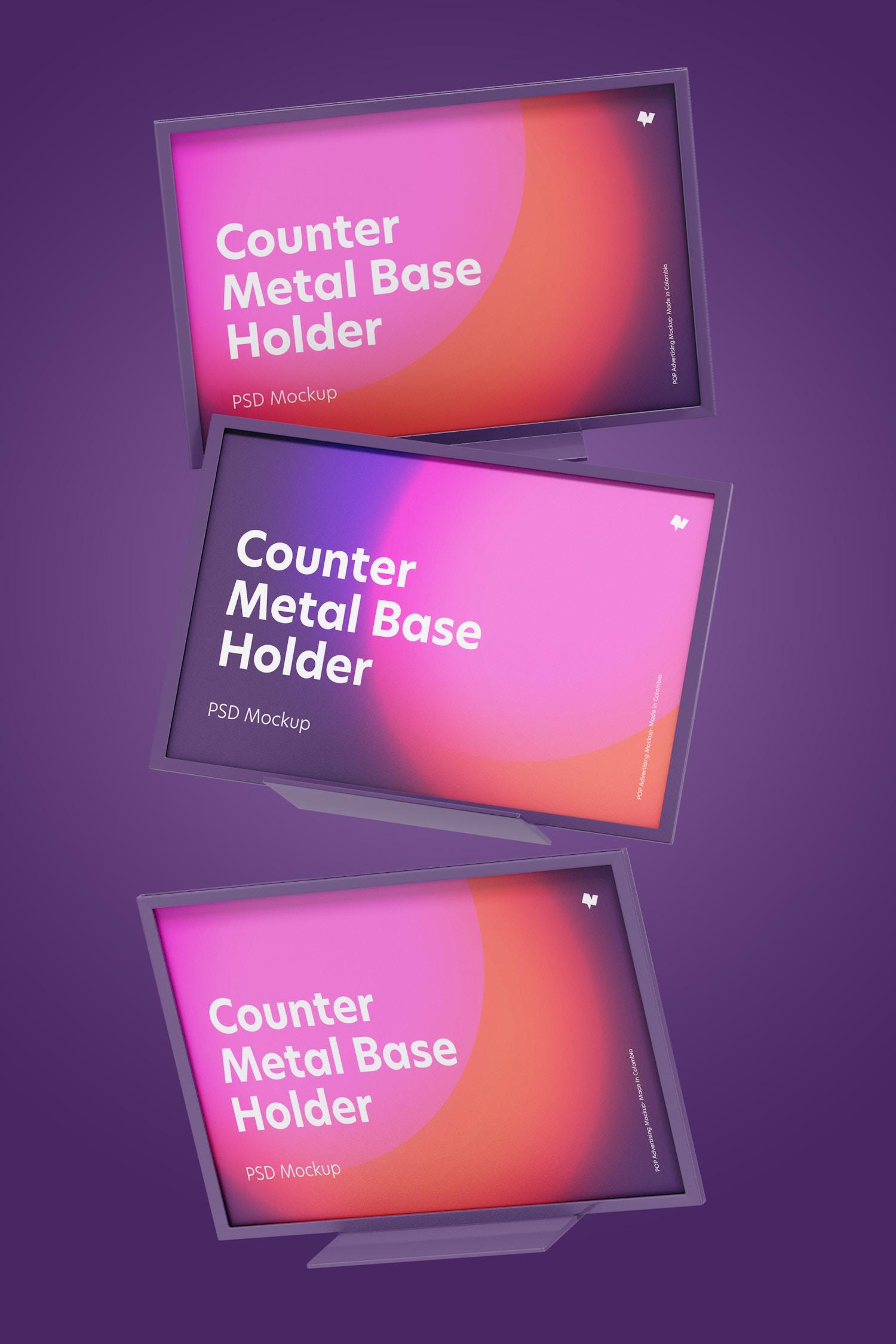 Counter Top Metal Base Holders Mockup, Falling
