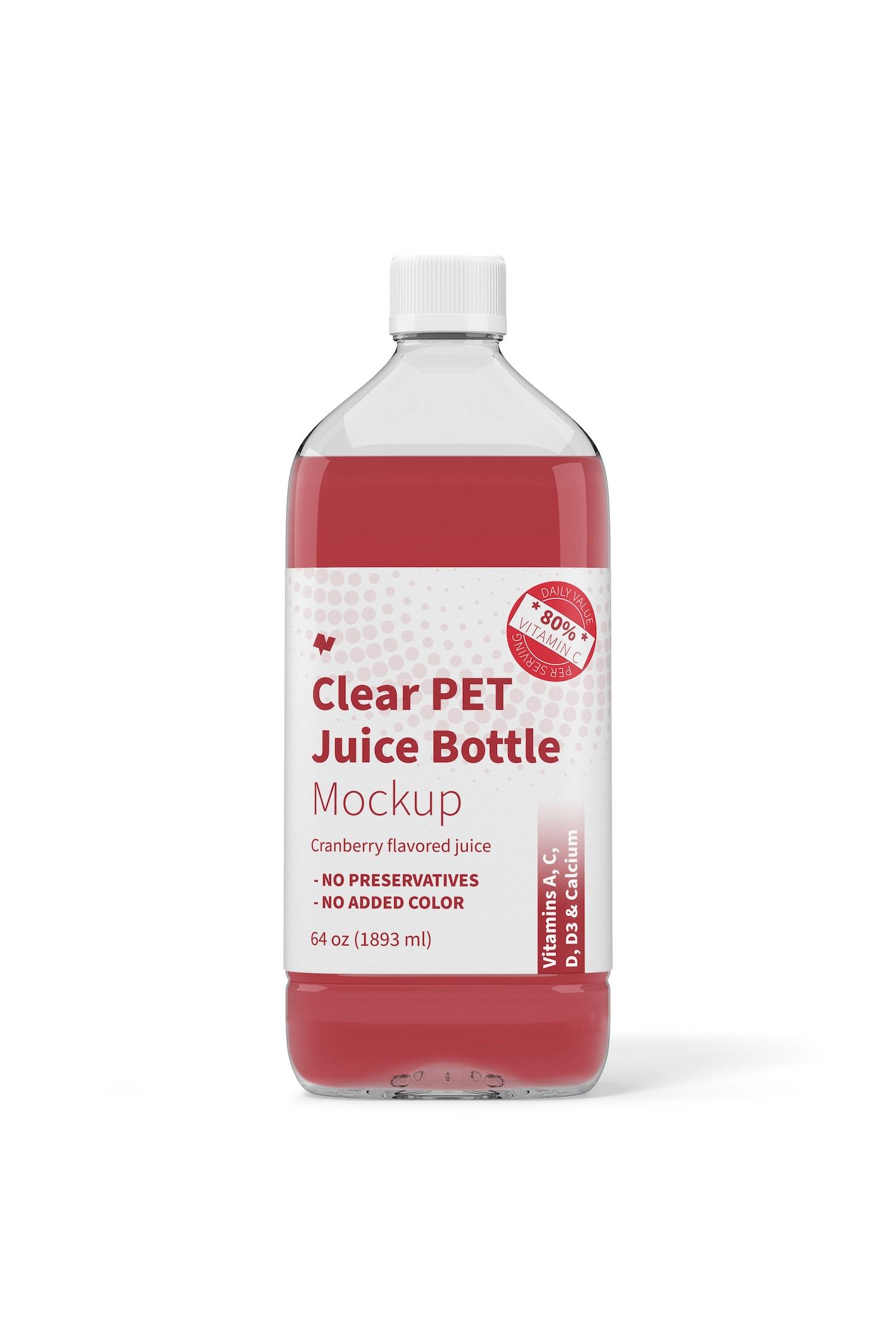 64 oz Clear PET Juice Bottle Mockup, Front View