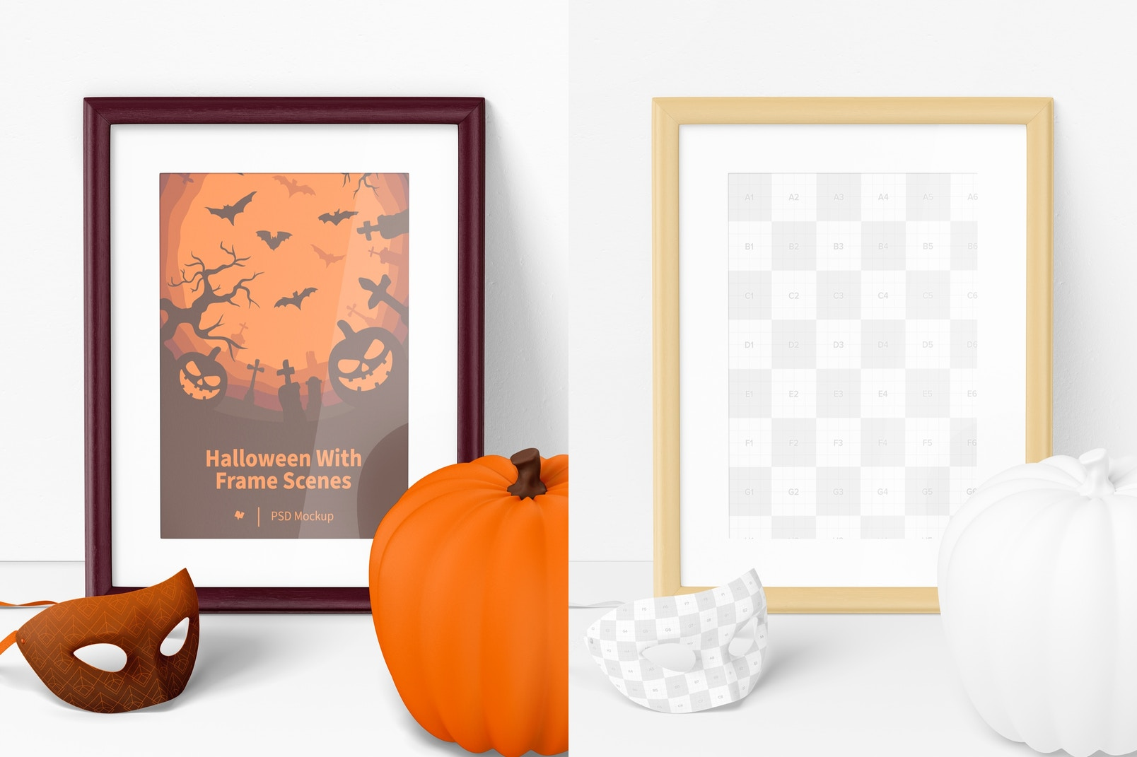 Halloween with Frame Scene Mockup, Front View