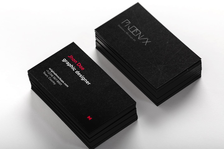 Black Business Cards Mockup 01