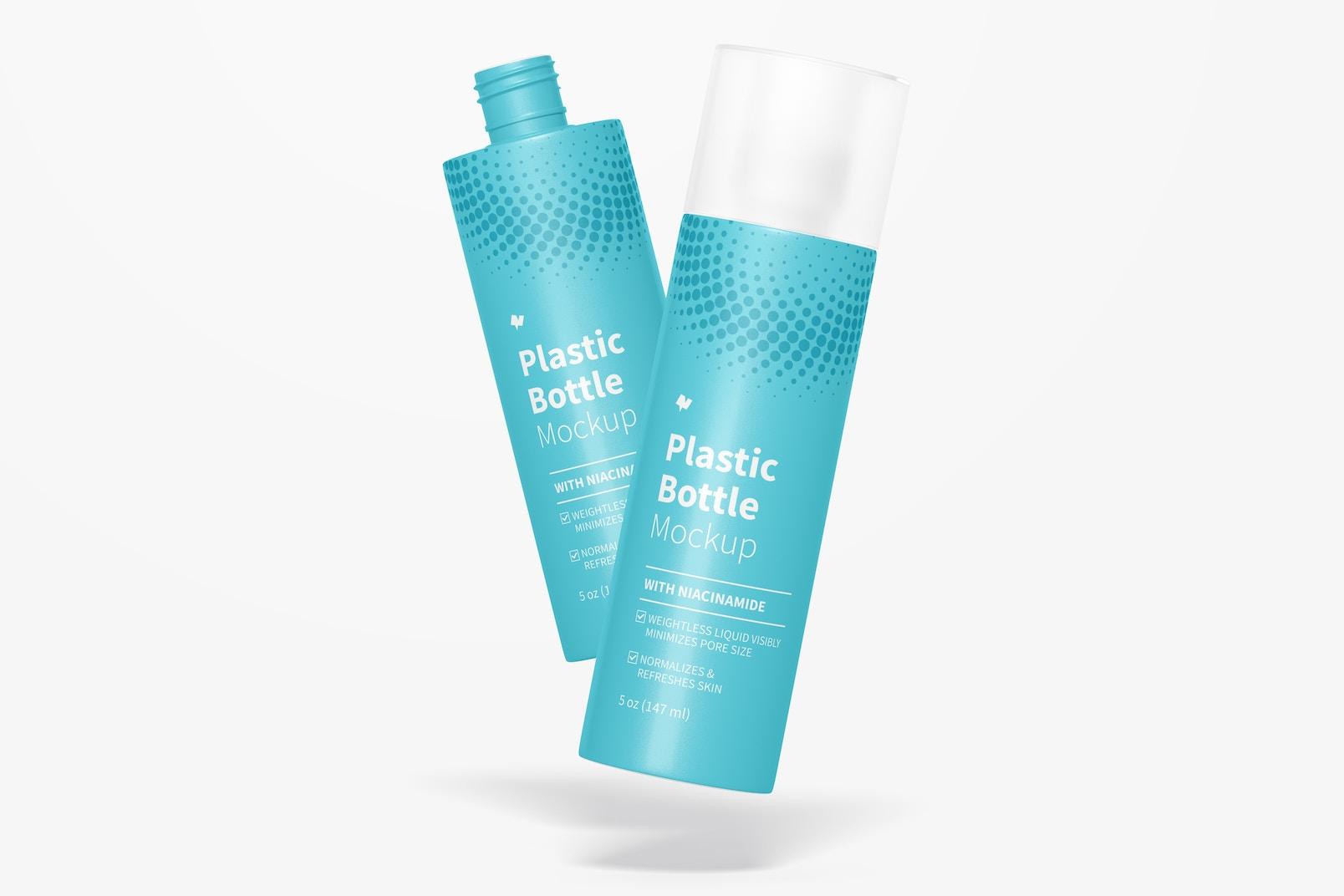5 oz Plastic Bottles Mockup, Falling
