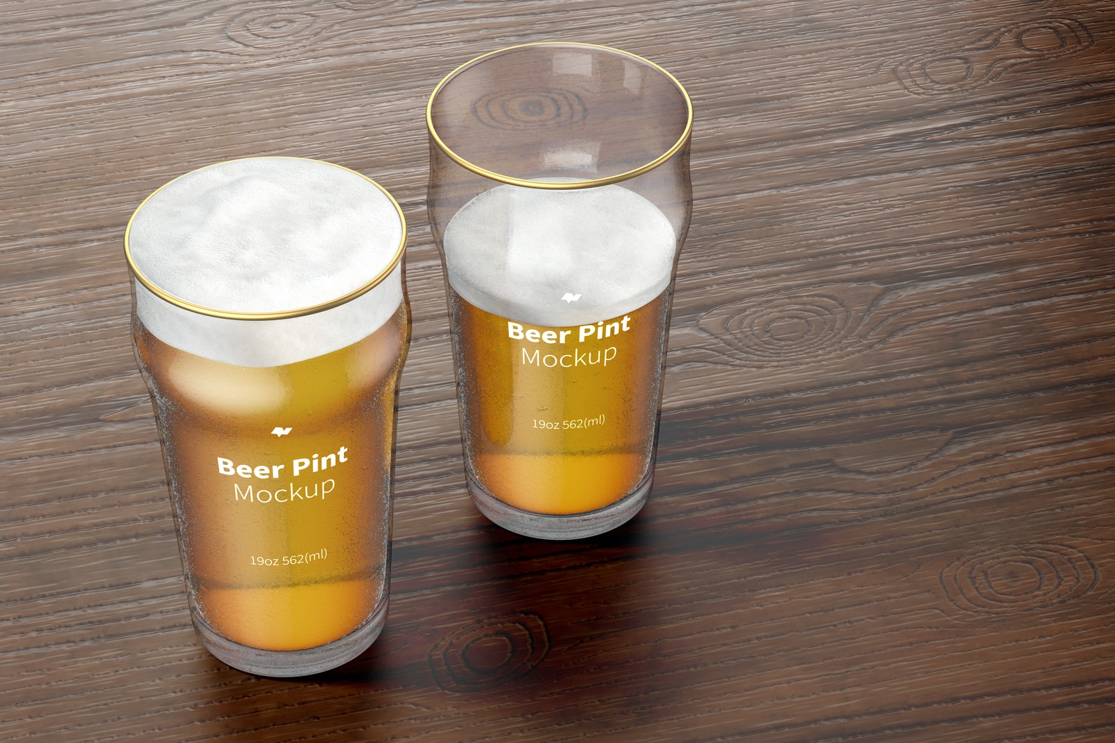 19 oz Beer Nonic Pint Glass Mockup, Perspective