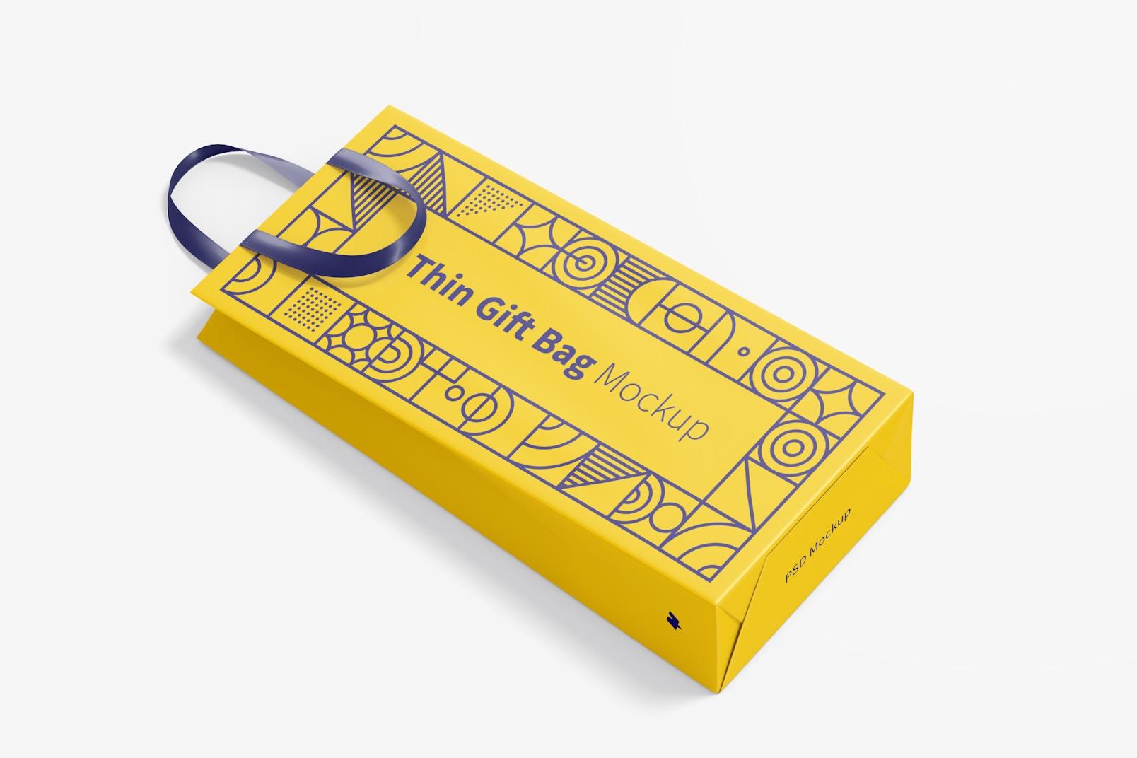 Thin Gift Bag with Ribbon Handle Mockup, Top View