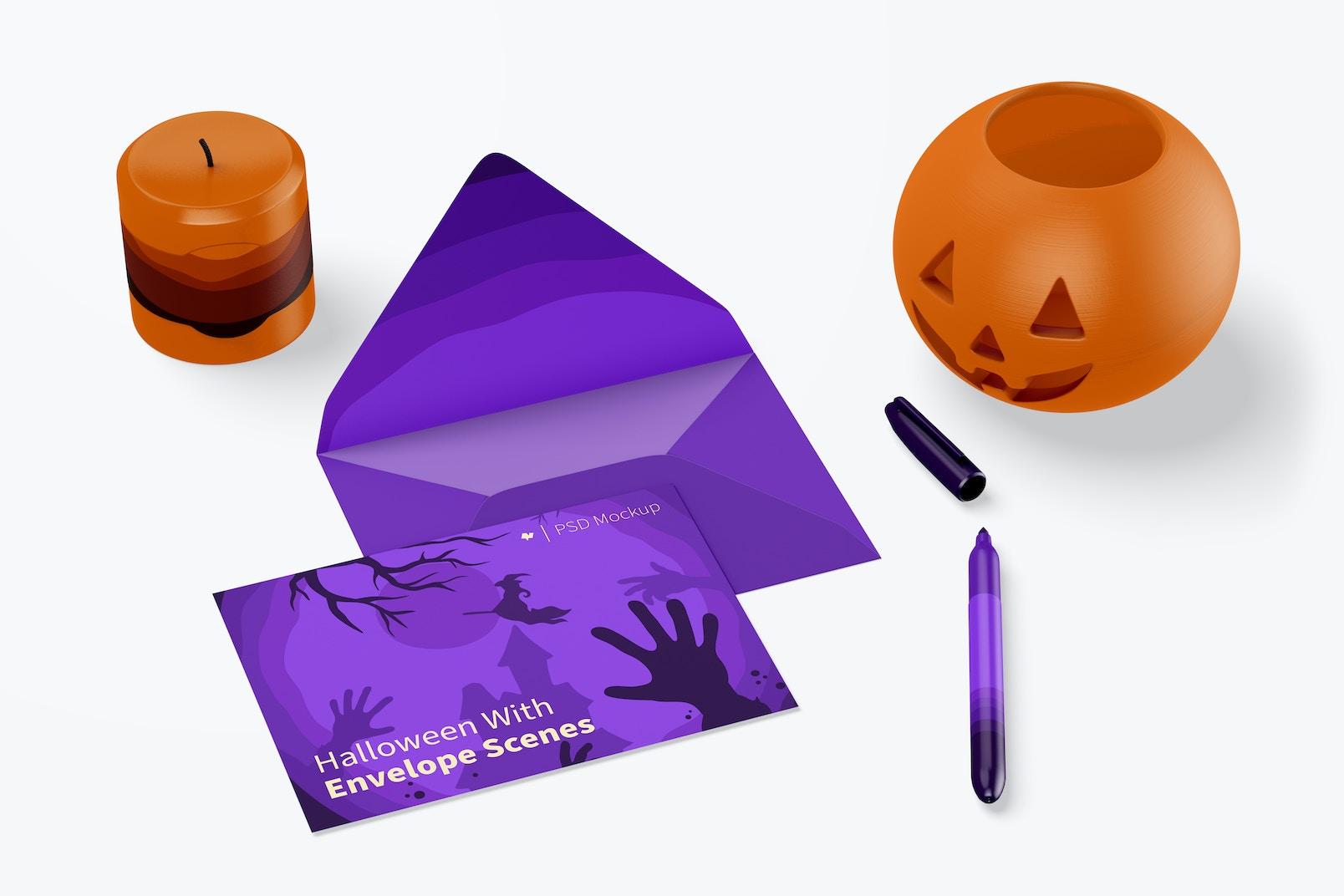 Halloween with Envelope Scene Mockup, Top View