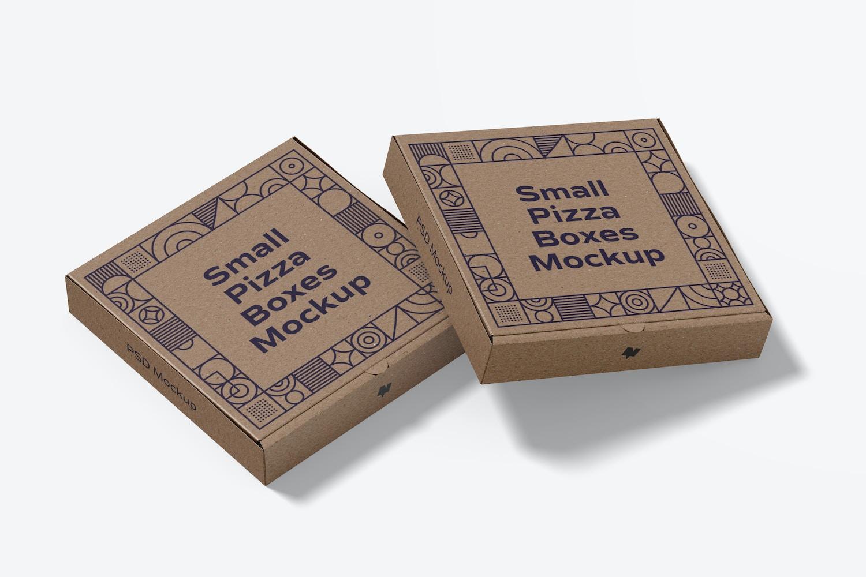 Small Pizza Boxes Mockup, Closed