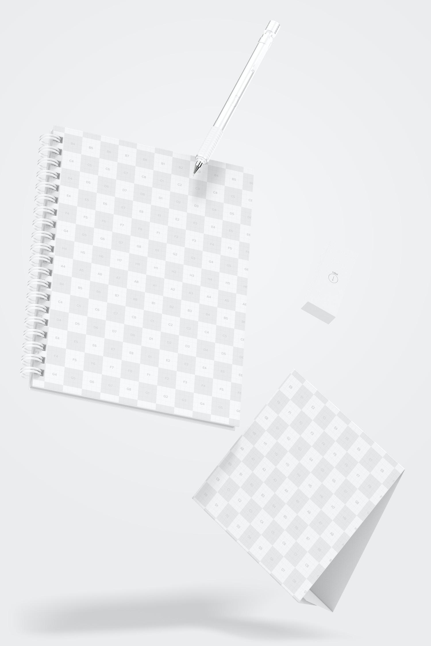 Wire Bound Notepad Scene Mockup, Falling