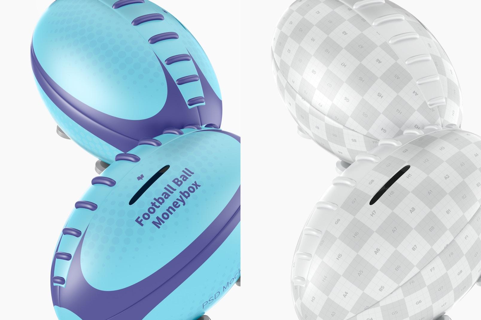 Metal Football Ball Moneybox Mockup, Close Up