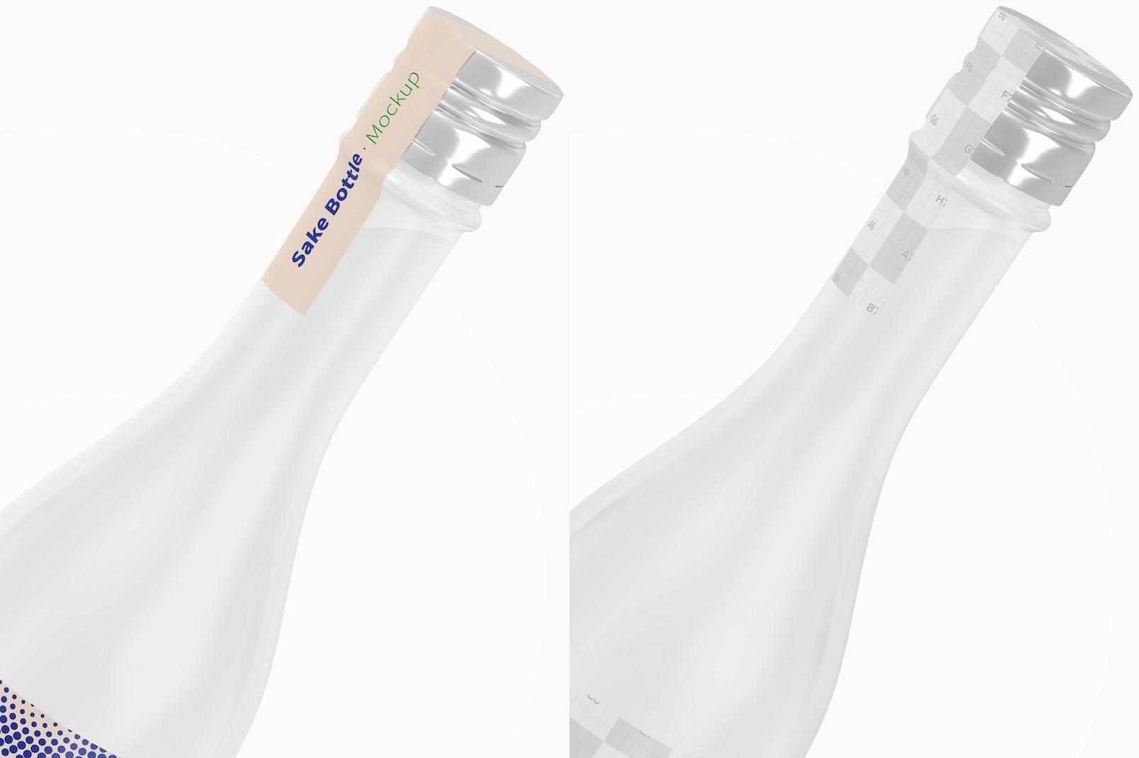 Sake Bottle Mockup, Close Up
