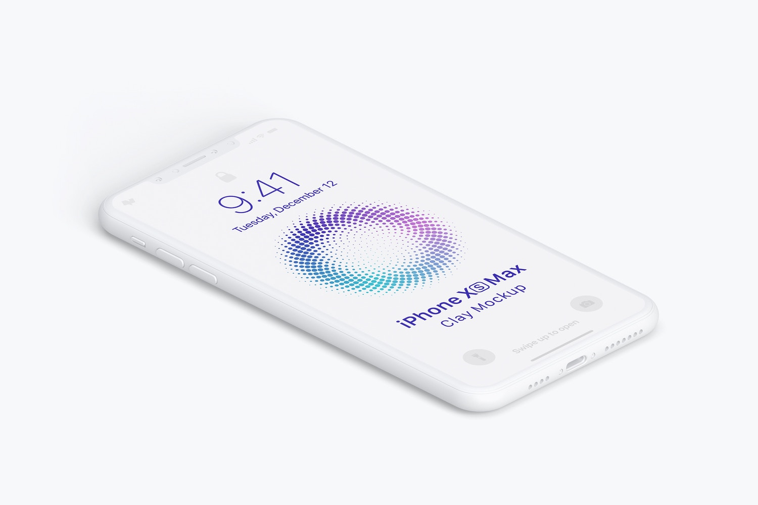Isometric Clay iPhone Xs Max Mockup, Left View