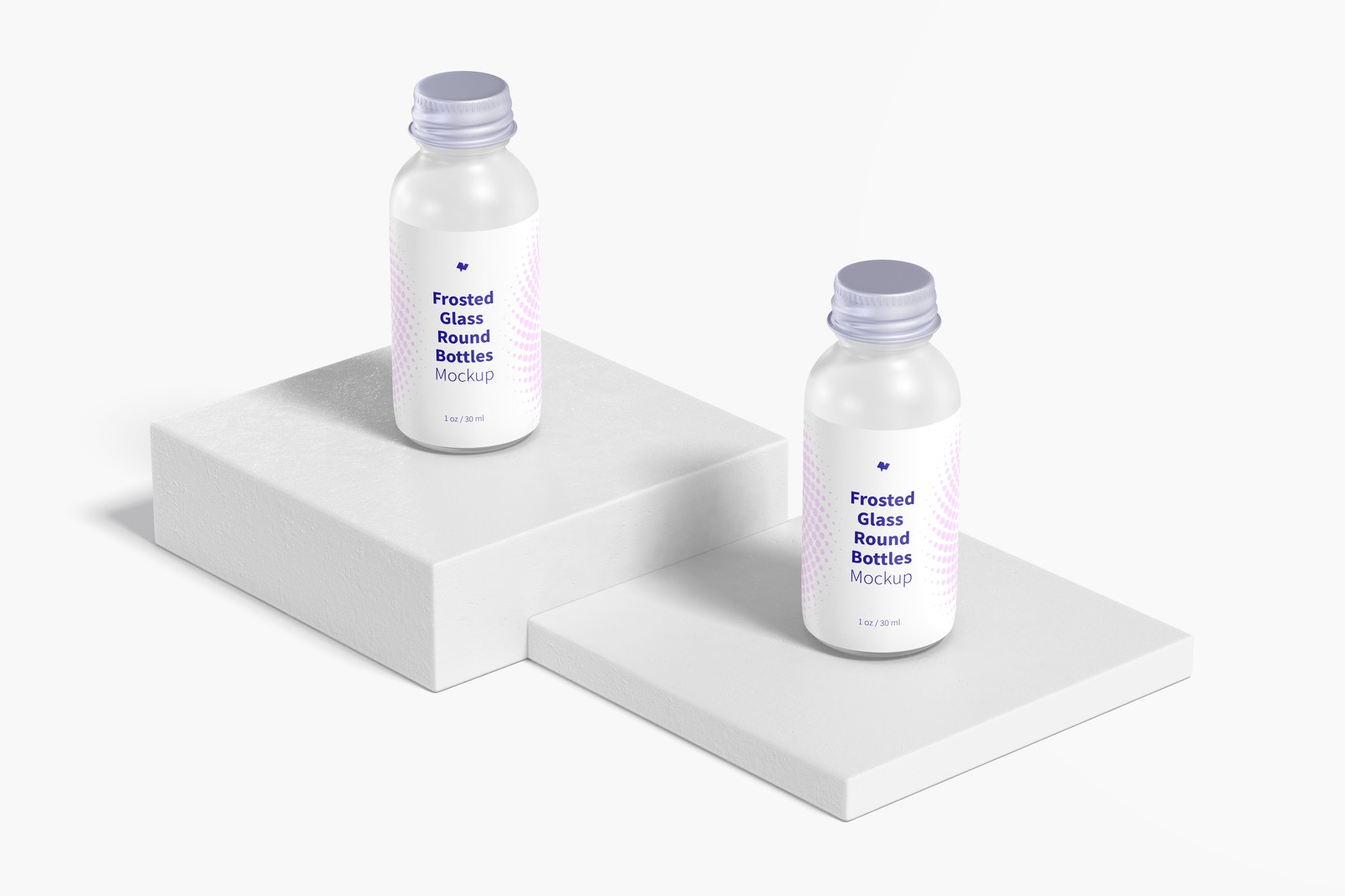 1 oz Frosted Glass Round Bottles Mockup, Perspective View