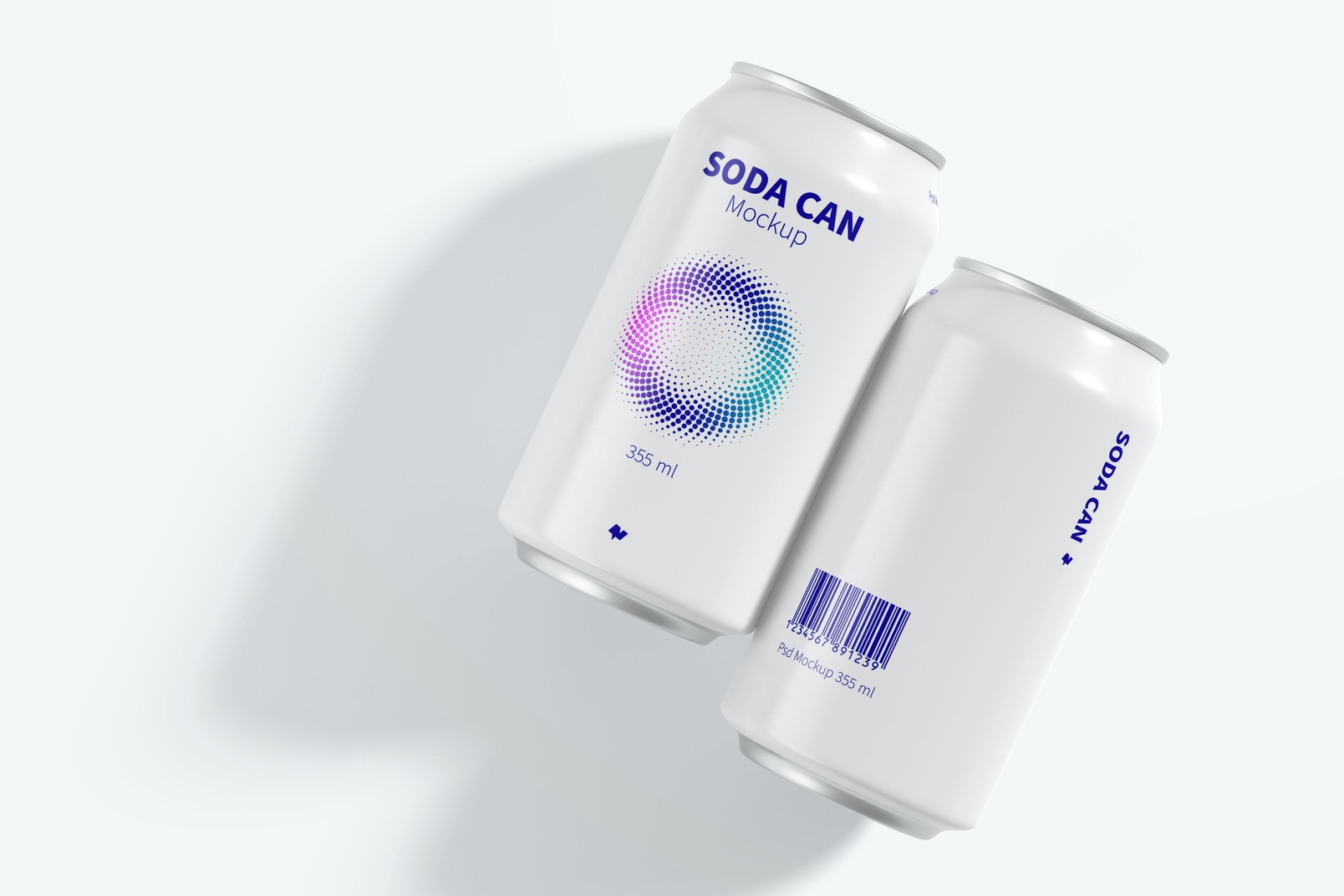 355 ml Soda Cans Mockup, Top View