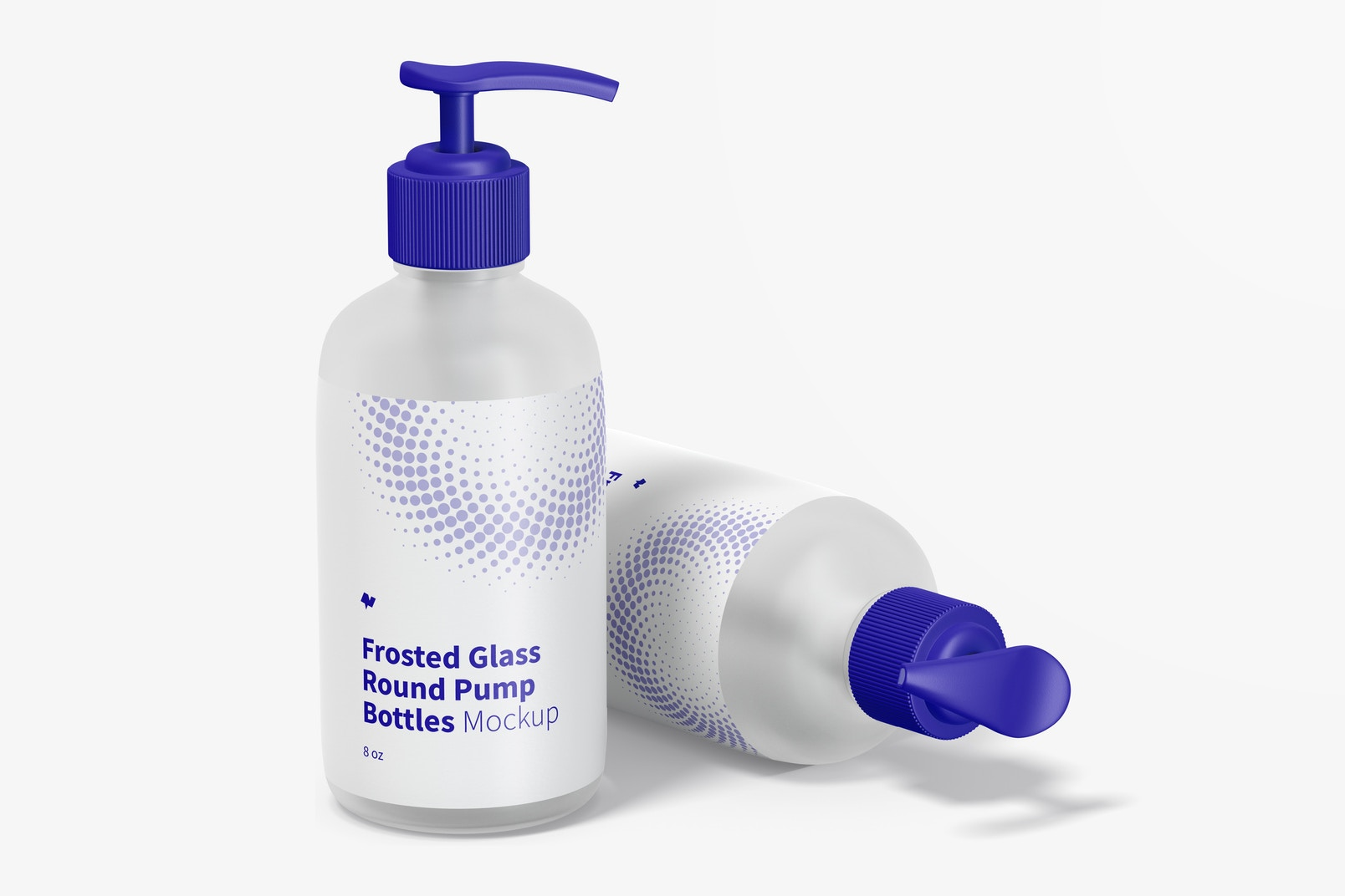 8 oz Frosted Glass Round Pump Bottles Mockup