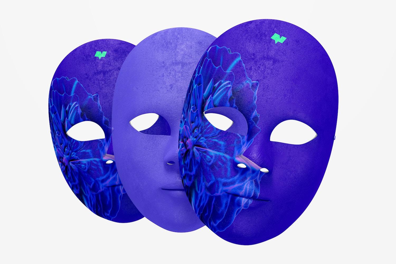 Plain Venetian Full-Face Masks Mockup, Front View