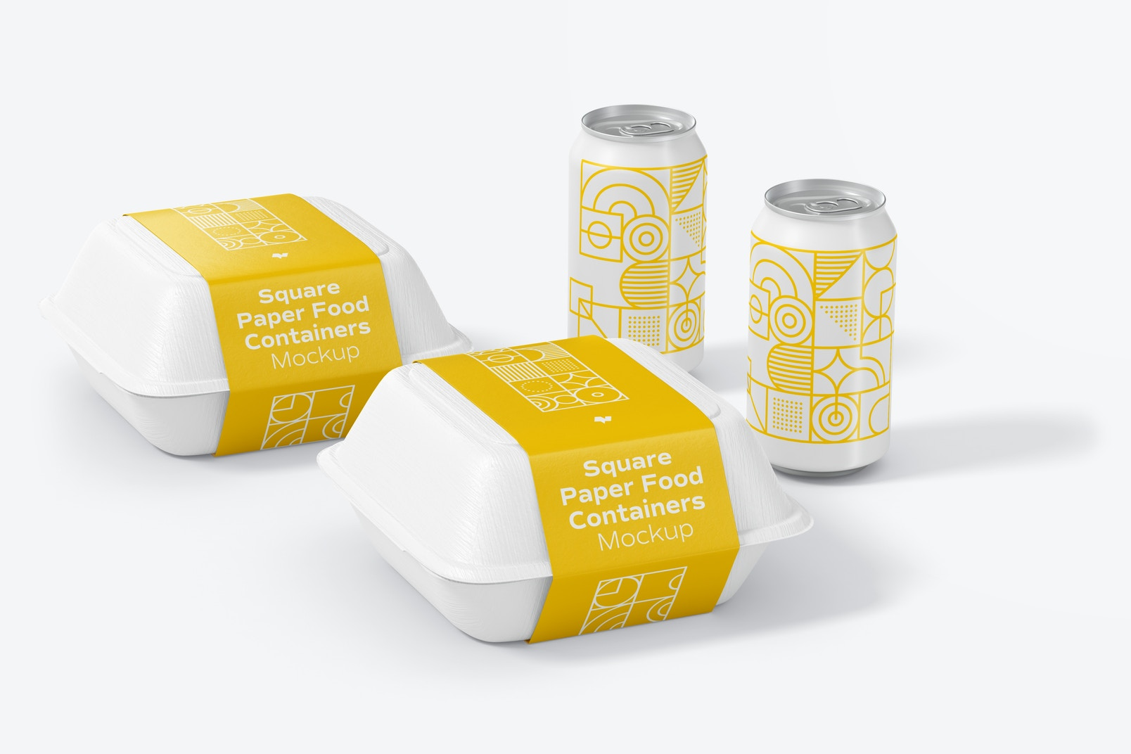 Square Paper Food Containers Mockup with Can