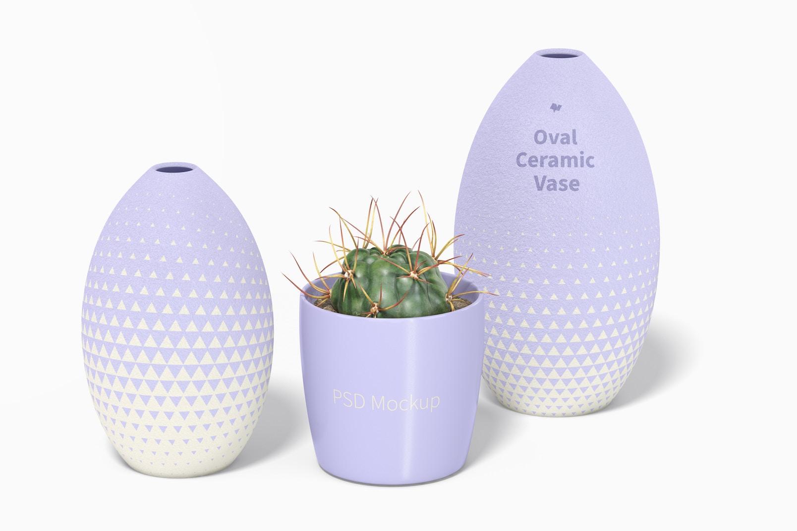Oval Ceramic Vase Set Mockup