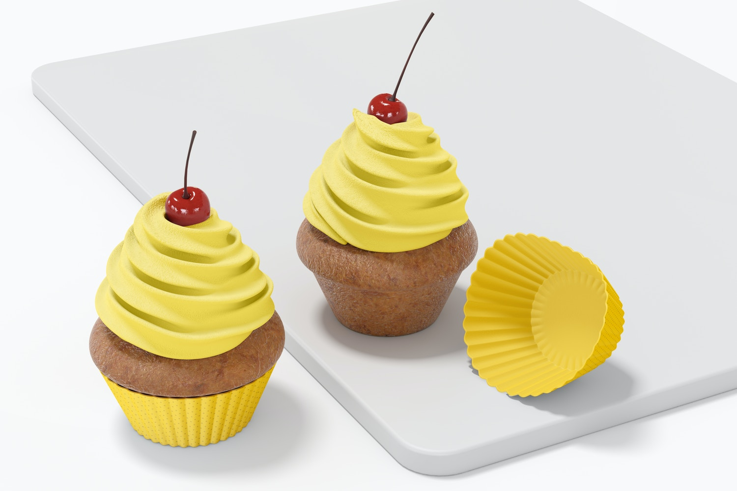 Cupcake with Silicone Baking Cup Set Mockup
