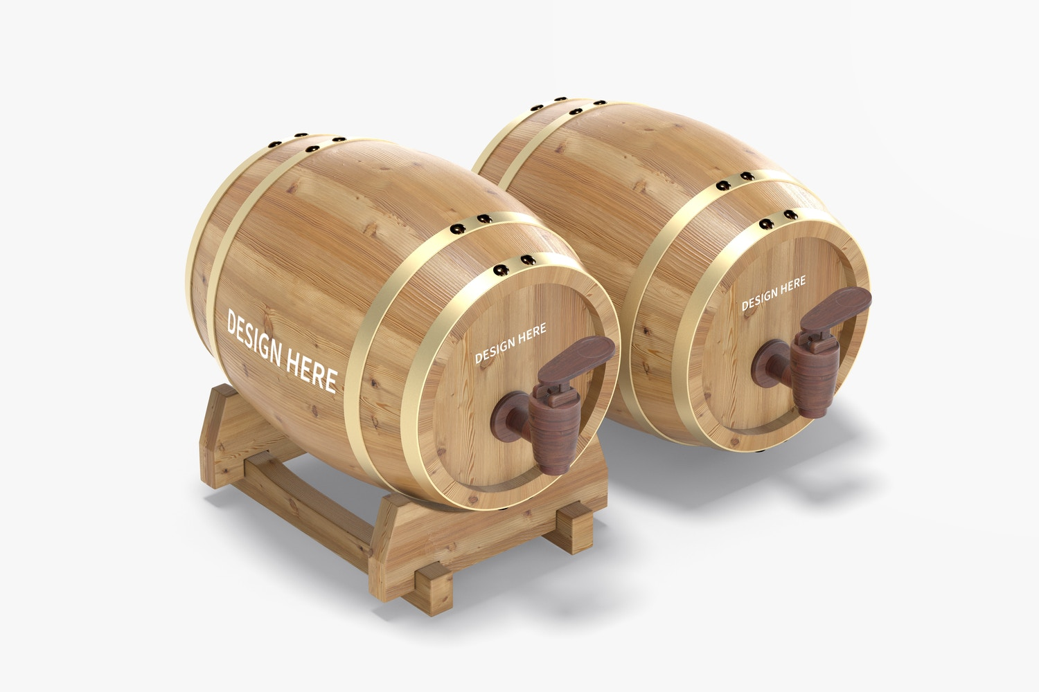 Wooden Barrels on Stand Mockup, Right View