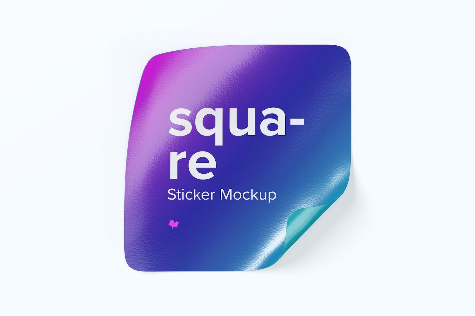 Maqueta de Sticker Cuadrado, Vista Superior 02