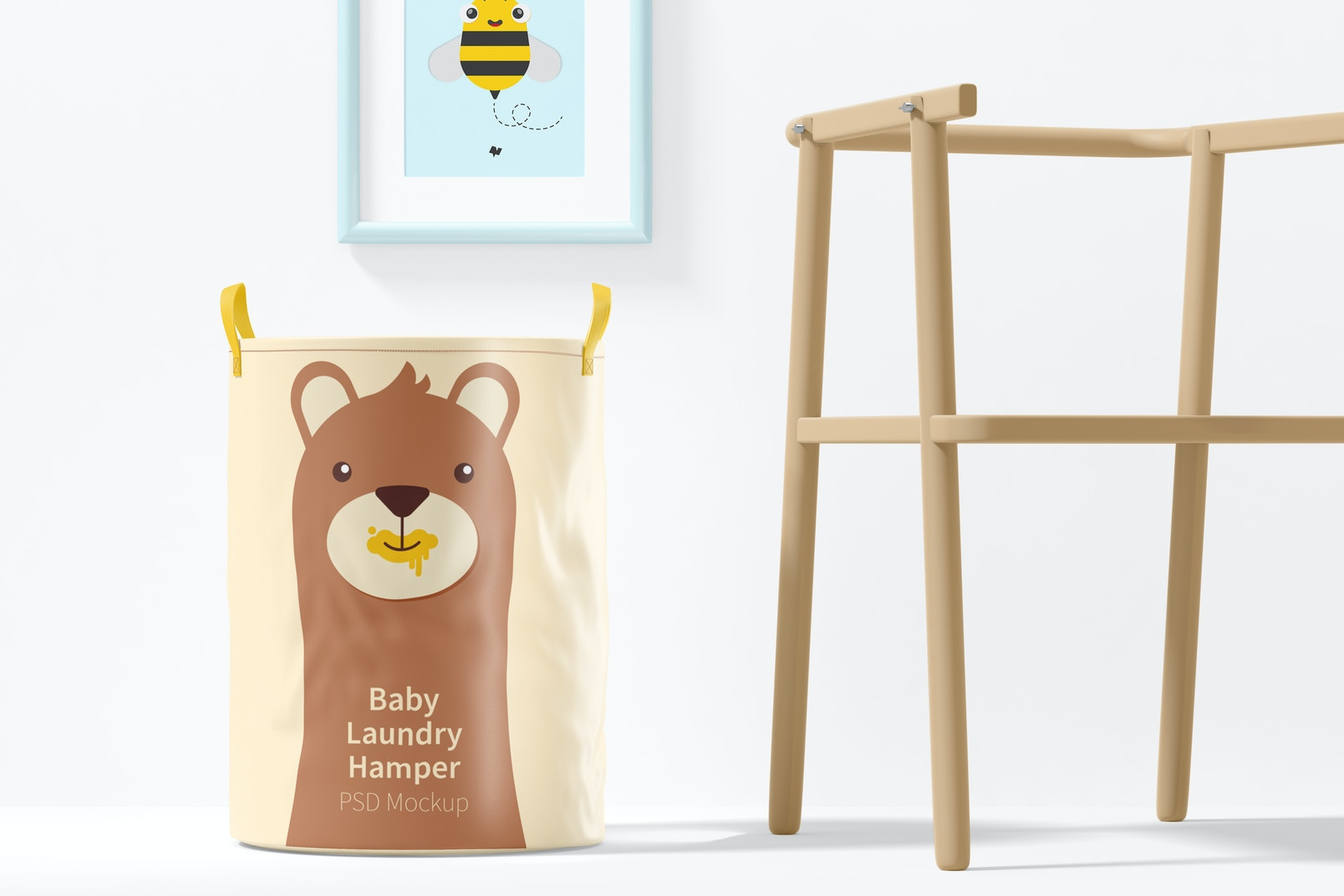 Baby Laundry Hamper Mockup, Front View