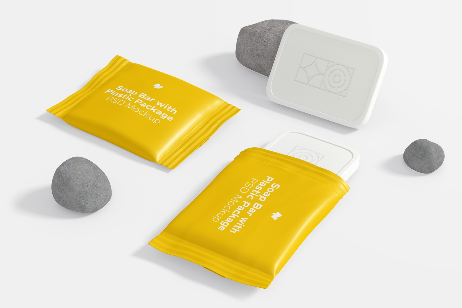 Soap Bar with Plastic Package Set Mockup