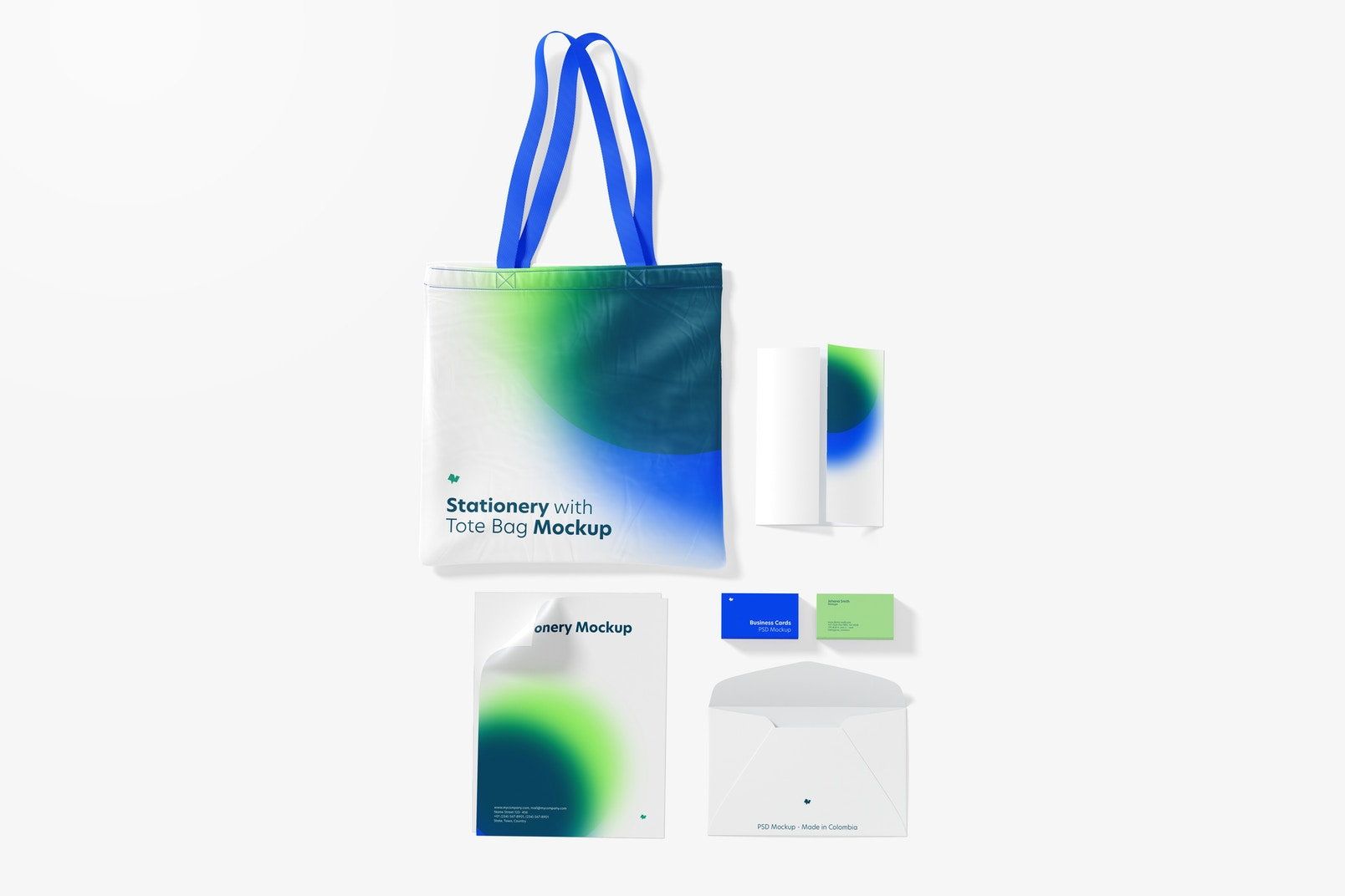 Stationery with Tote Bag Mockup, Top View 02