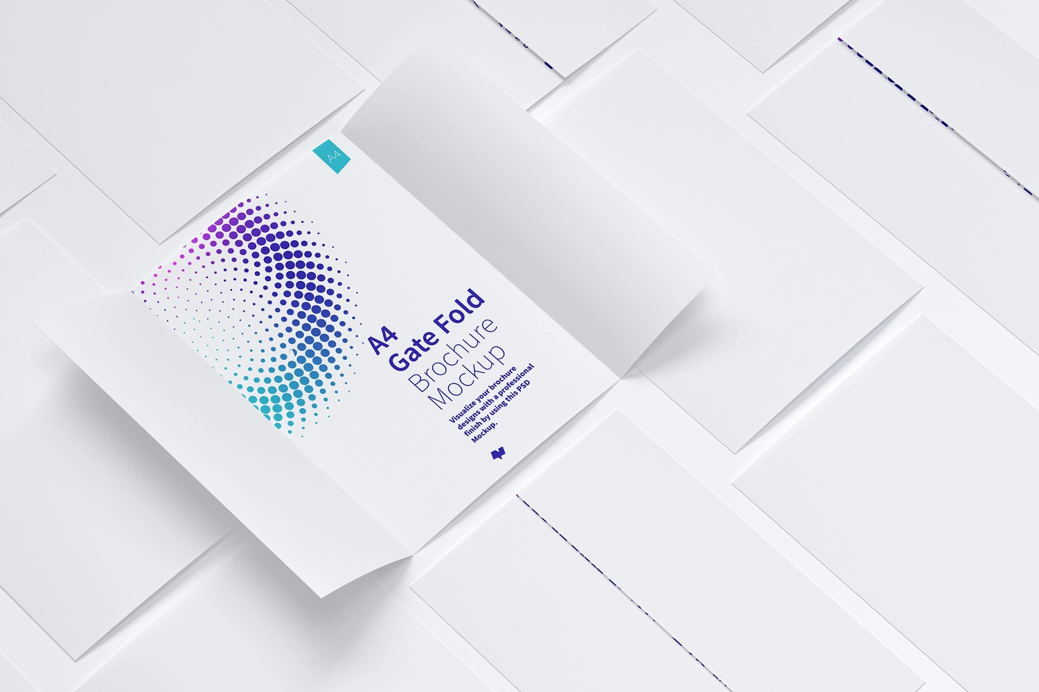A4 Gate Fold Brochure Mockup 06 by Original Mockups on Original Mockups