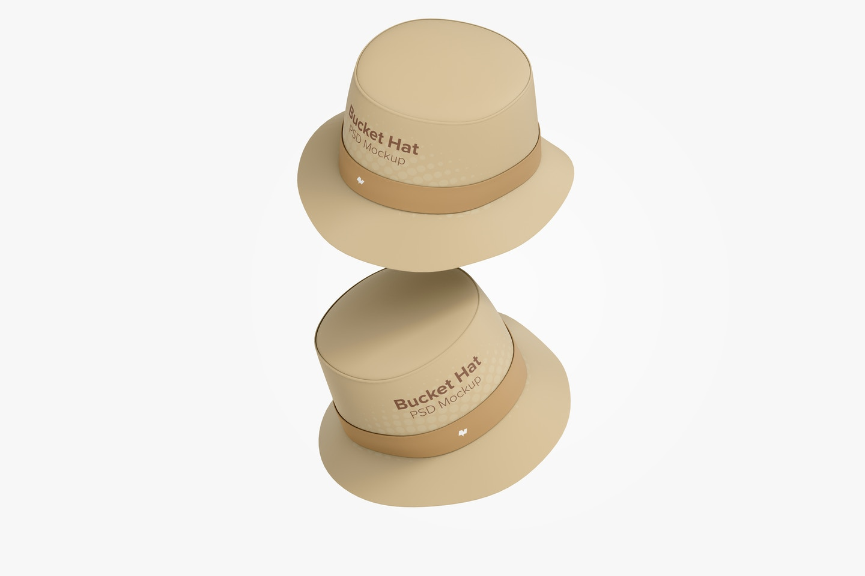 Bucket Hats Mockup, Falling