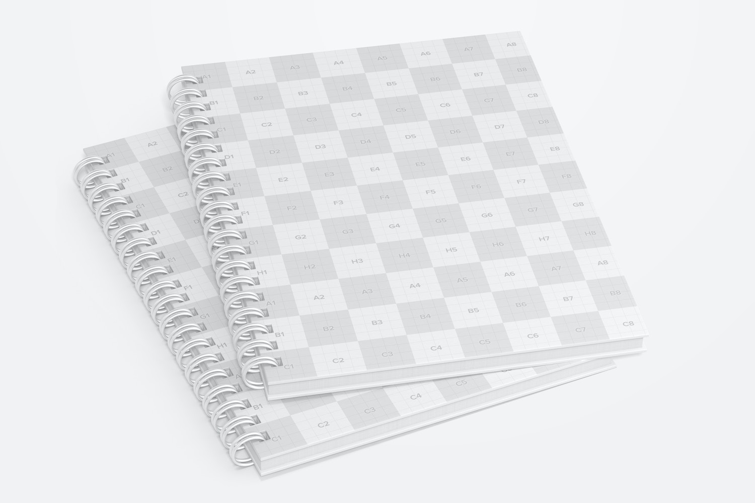 Plastic Cover Wire Bound Notepads Mockup, Front View