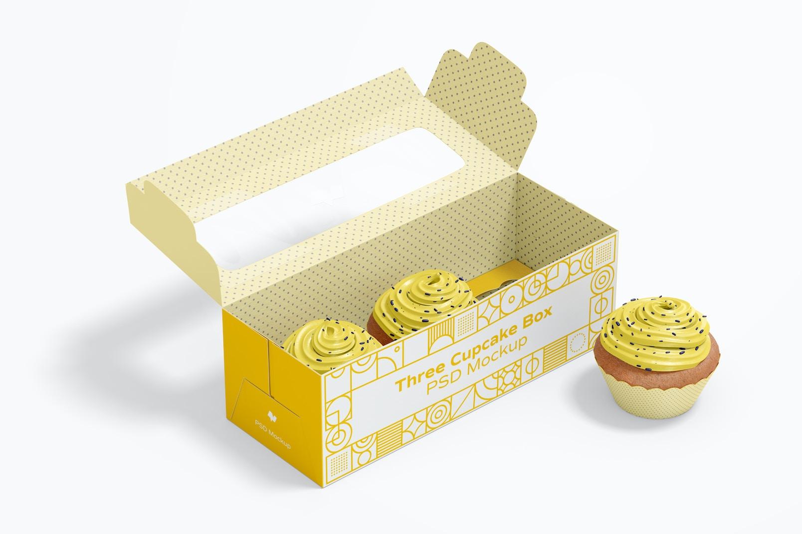 Maqueta de Caja de Tres Cupcakes