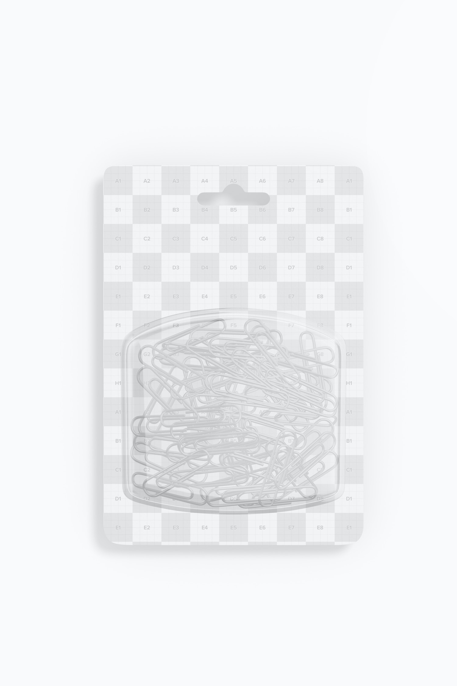 Paper Clips Blister Mockup, Top View