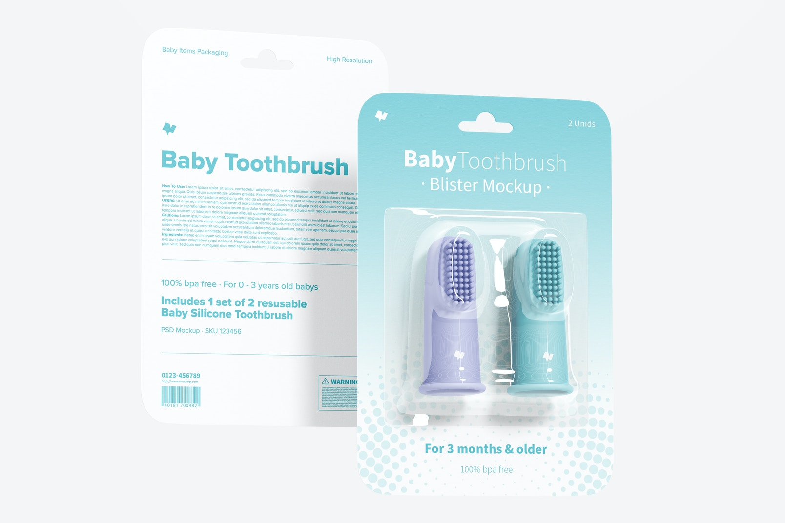 Baby Toothbrush Blister Mockup, Front and Back View