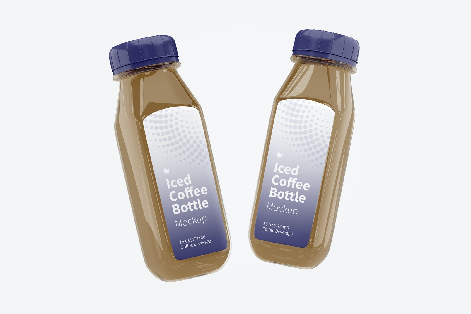 Iced Coffee Glass Bottles Mockup, Floating
