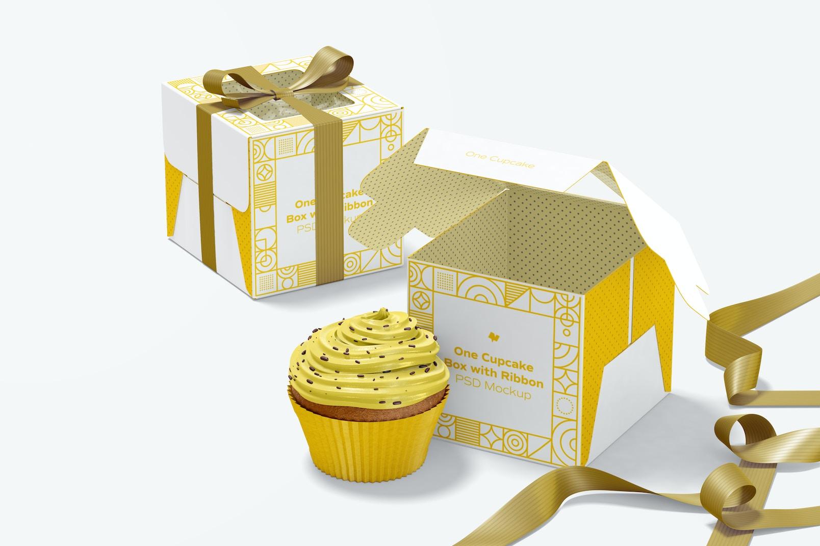Maqueta de Cajas con Lazo de un Cupcake