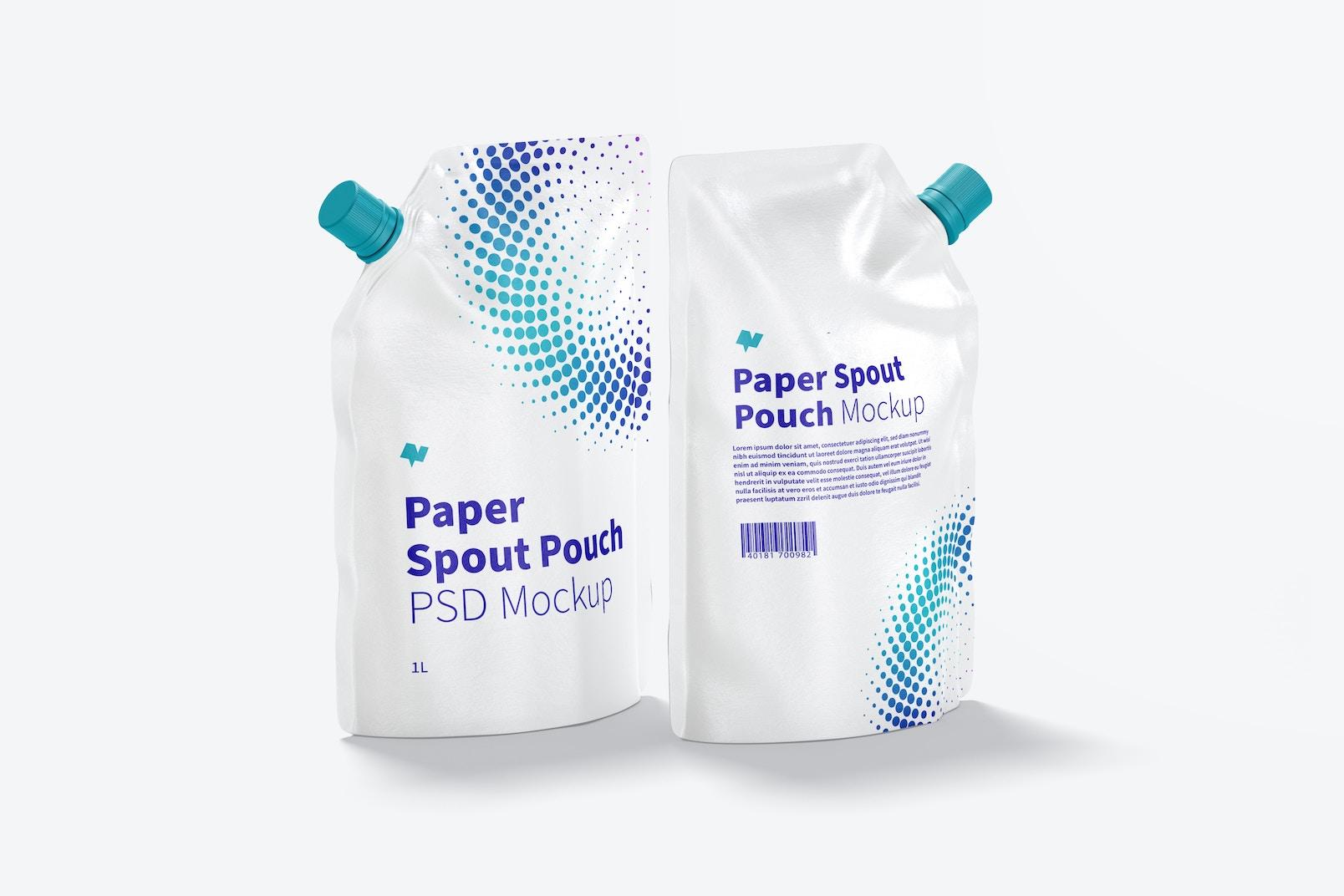 1 Liter Paper Spout Pouch Mockup