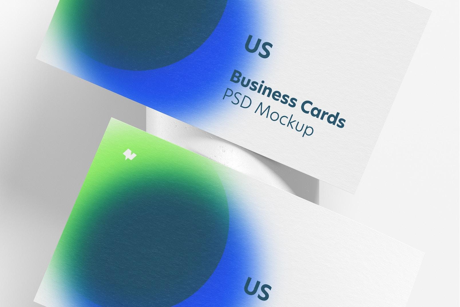 Maqueta de Tarjetas de Presentación Estados Unidos Horizontal, Vista Superior