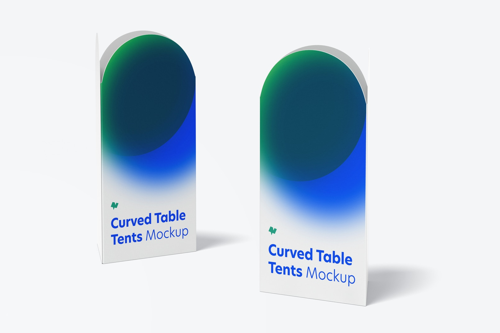 Curved Top Table Tents Mockup, Perspective