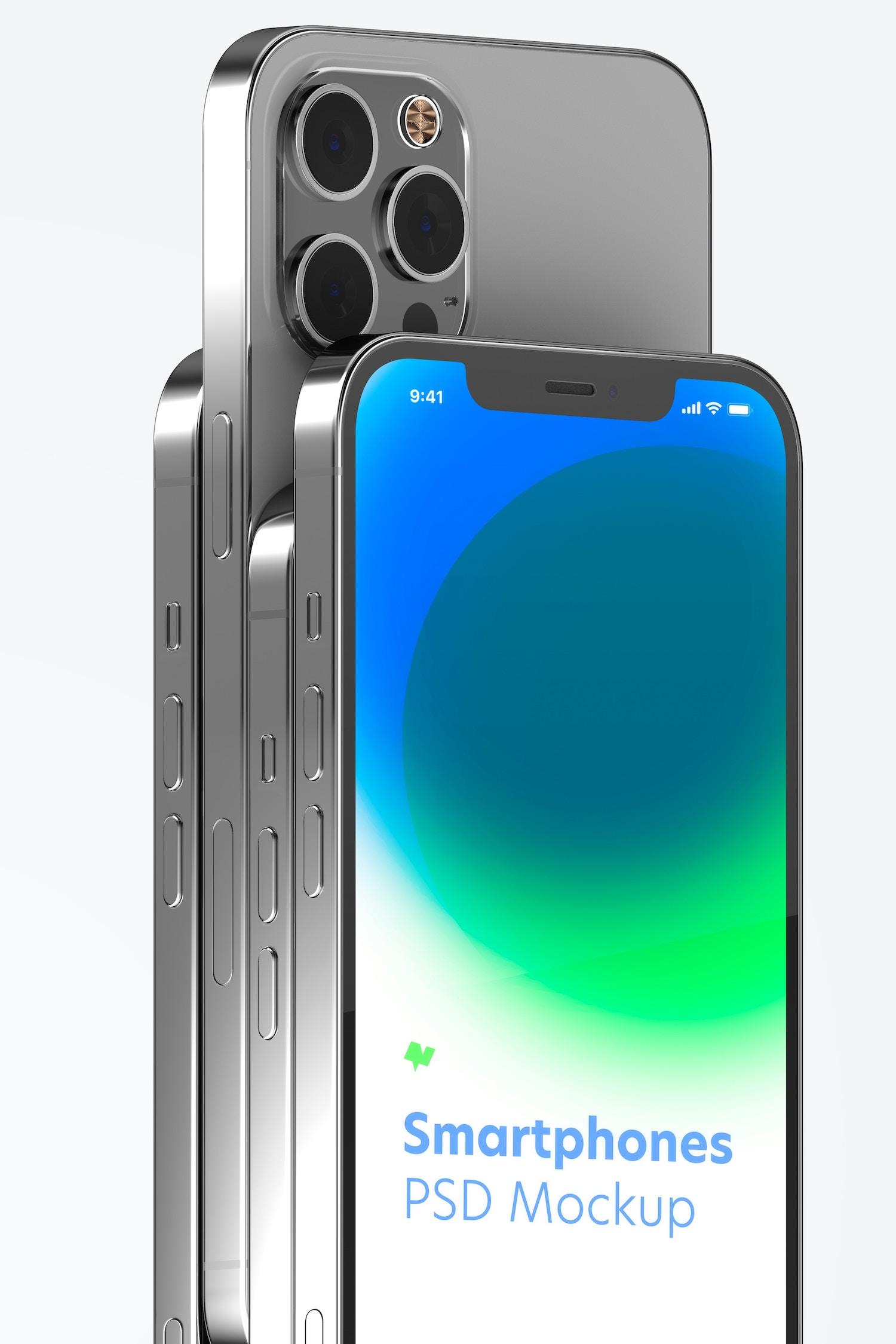 iPhone 12 Set Mockup, Close Up 02