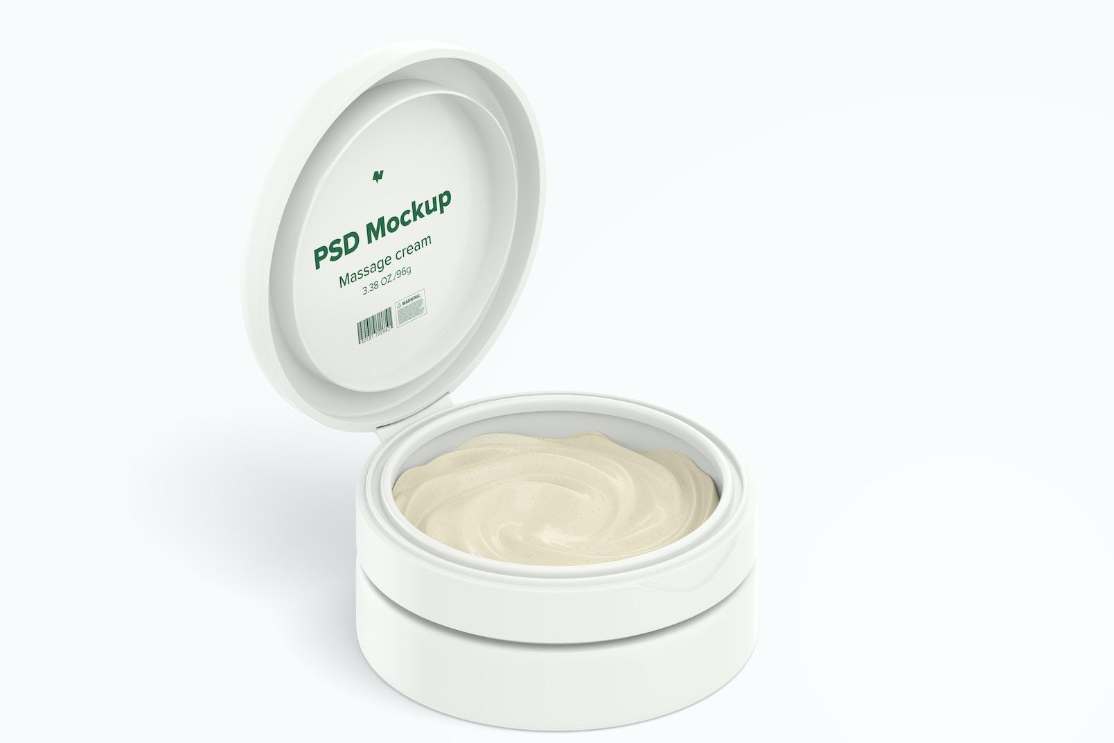 3.38 oz Cream Jar Mockup, Isometric Opened