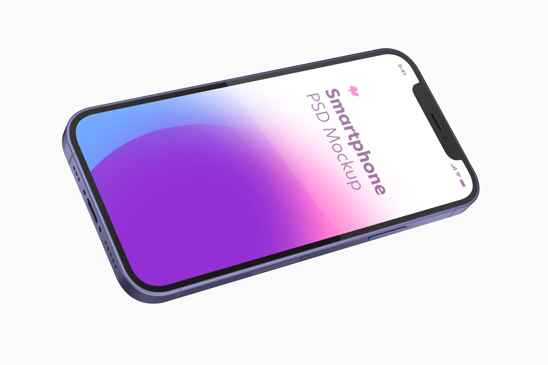 iPhone 12 Purple Version Mockup, Landscape Floating View