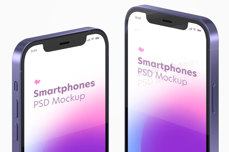 iPhone 12 Purple Version Mockup, Close Up